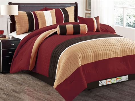 brown and burgundy comforter set 7 pc quilted square pleated striped comforter set king