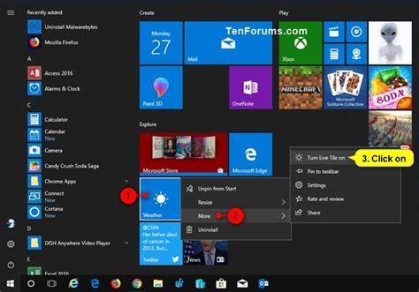 windows 10 live tile tutorial turn on or off live tiles for apps on start in windows 10