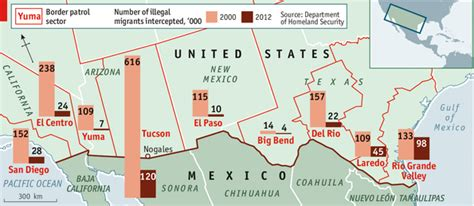 us mexico border wall map secure enough the economist