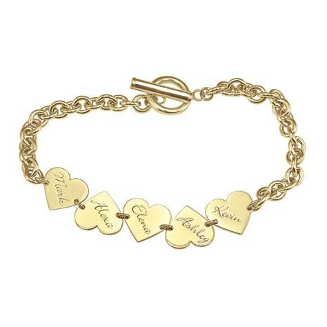 Family Dangle Heart Name Bracelet Personalized Jewelry