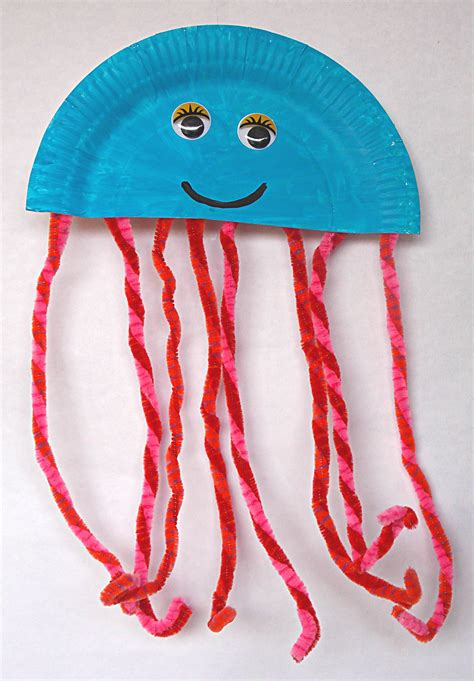 Crafts With Paper Plates - paper plate jellyfish easycraftsforchildren