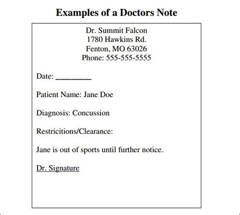 doctor notes templates 9 doctor note templates word excel pdf formats