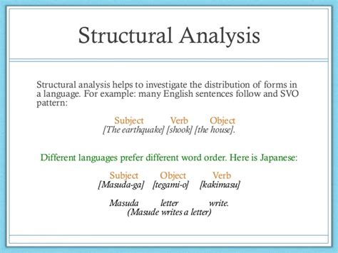 structural pattern in english language analysis of grammatical structure