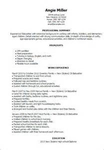 babysitting resume sles resume word for nanny 100 100 images