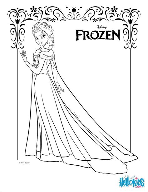 Elsa Coloring Pages Hellokids Com Disney Frozen Coloring Pages For Elsa Free
