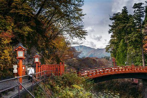 sacred bridge shinkyo  nikko japan stock photo