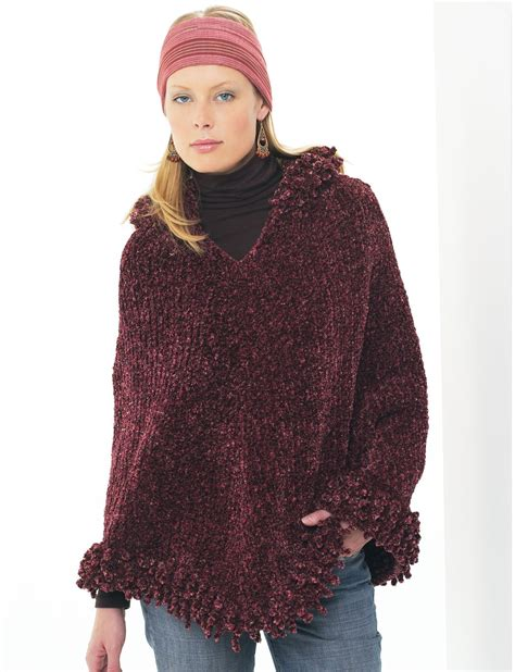 knitted hooded poncho yarnspirations patons hooded poncho patterns