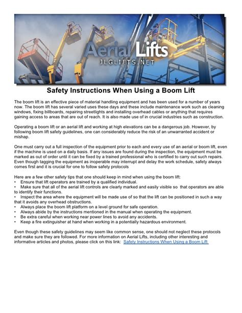 Who Uses A Safety L by Safety When Using A Boom Lift