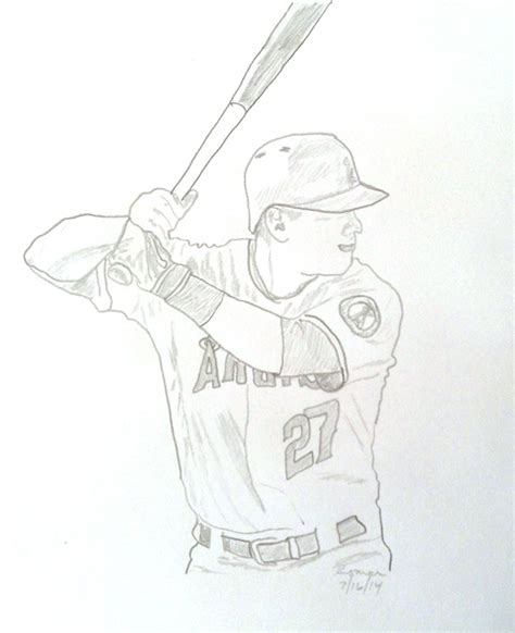 Mlb All Star Game Sketches Jeter Trout Darvish Derek Jeter Coloring Pages