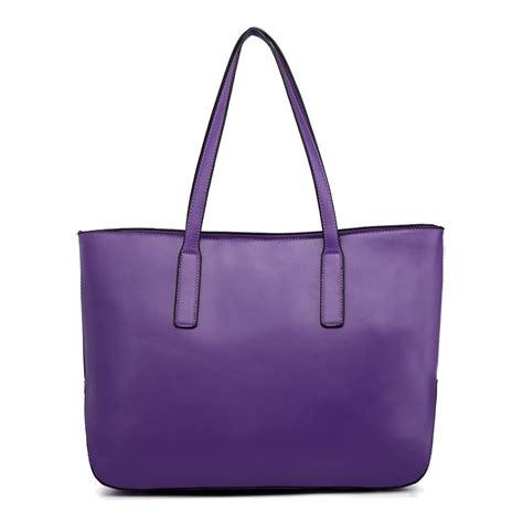 Exsper Totte Bag Set 3 In 1 l1435 1 miss lulu leather look large shoulder 3 in 1 tote bag purple