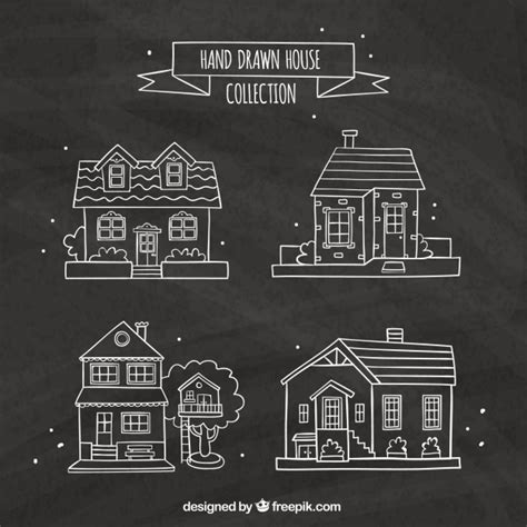 pack casa pack de cuatro casas dibujadas a mano descargar vectores