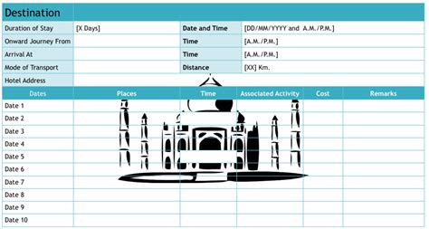 travel spreadsheet excel templates new 7 travel itinerary template