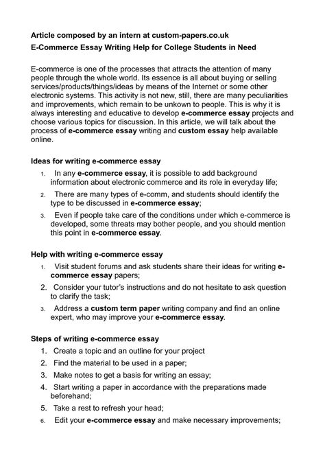 E Commerce Essay by Calam 233 O E Commerce Essay Writing Help For College Students In Need