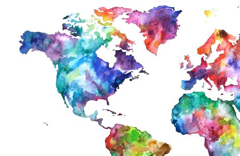 20x30 watercolor map print world map watercolor painting