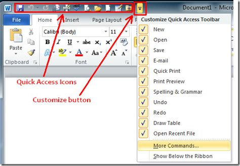 what is the top bar of a window called office 2010 quick access toolbar