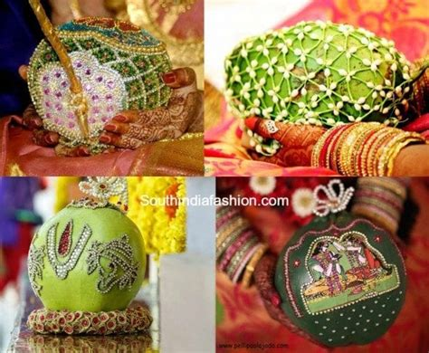 coconut decoration  weddings south india fashion