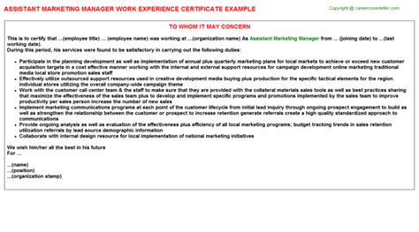Work Experience Certificate Marketing Assistant Marketing Manager Work Experience Certificate