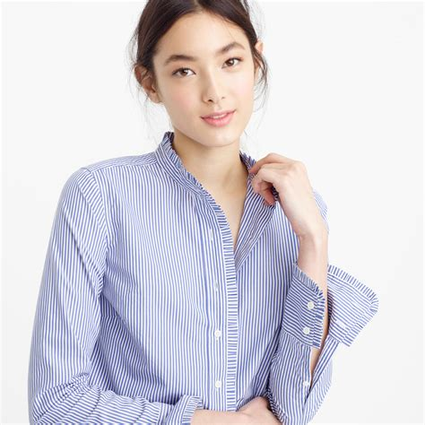 Striped Frilled Trim Blouse j crew ruffled button up shirt in stripe in blue lyst