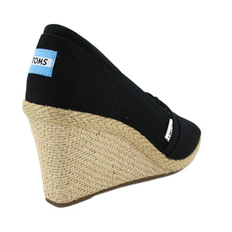 toms wedge heels womens shoes 010001b10 black ebay