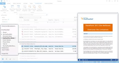 Outlook Search Within Email Oneplacemail R6 5 Delivers Sharepoint Access Within A