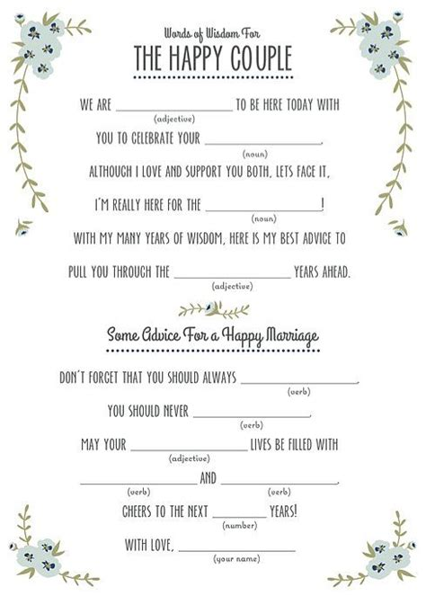 wedding mad libs template free 25 best ideas about wedding mad libs on mad