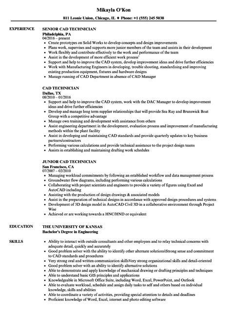 cad technician resume exles festooning resume