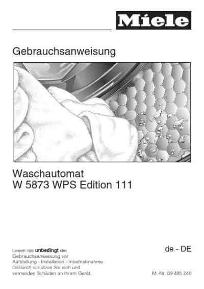 Miele Waschmaschine W 5873 Wps 2608 by Miele W 5873 Wps Edition 111waschmaschinen Pdf Anleitung