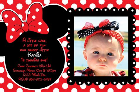Minnie Mouse Thank You Card Template by Custom And Black Polka Dot Minnie Mouse Invitation Or