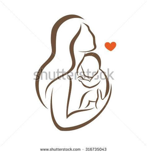 mom tattoo cartoon mother and baby stylized vector silhouette outlined