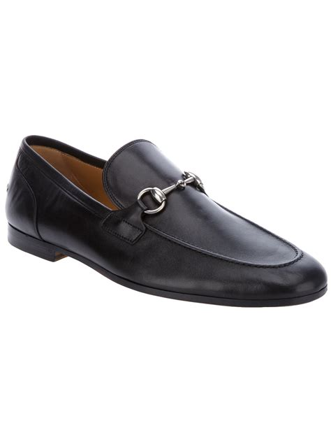 black gucci loafers gucci leather loafer in black for lyst
