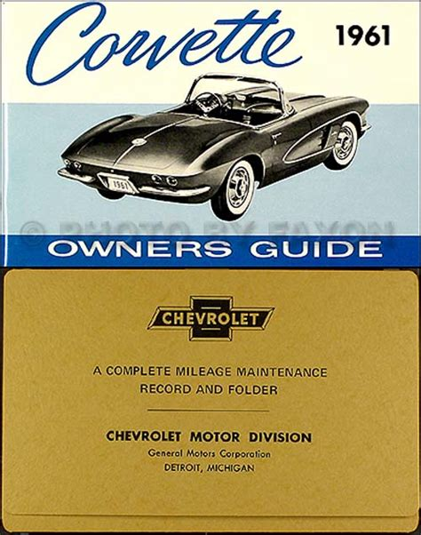 1961 corvette owners manual with envelope 61 owner guide book new chevrolet ebay