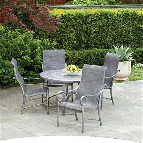summit outdoor furniture ridgecrest sling dining set by woodard family leisure
