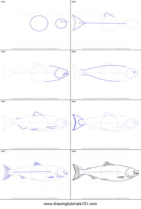 how to draw a doodle step by step how to draw a salmon printable step by step drawing sheet