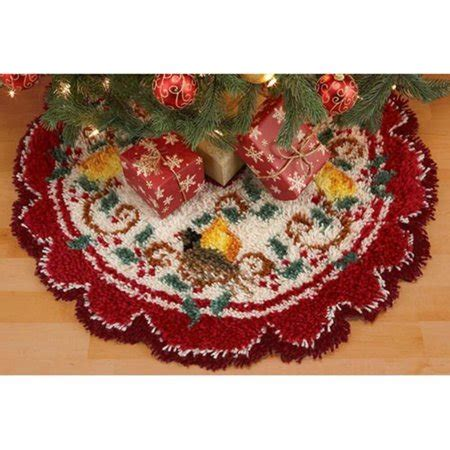 latch hook christmas tree skirt kits craftways 174 partridge in a pear tree tree skirt latch hook kit walmart