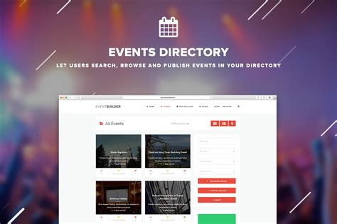 themeforest event eventbuilder wordpress events directory theme by themes