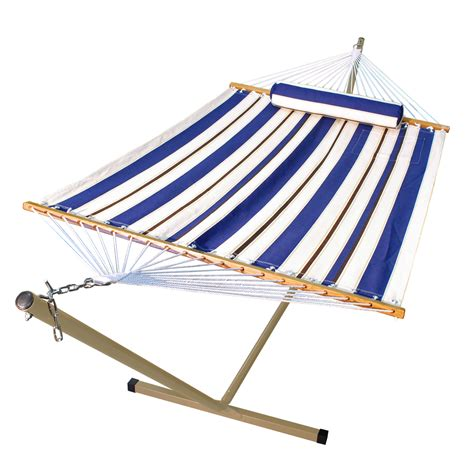 Hammock Material Fabric Hammock With Matching Pillow On Steel Stand