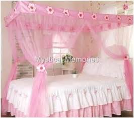 girls bed netting pink flower princess mosquito net 4 poster bed canopy