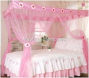 Four Post Bed pink flower princess mosquito net 4 poster bed canopy