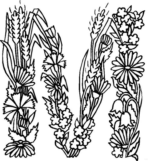 alphabet coloring pages with flowers y floral alphabet coloring pages coloring pages