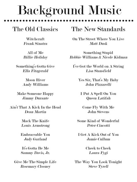 Wedding Shower Song List by 20 Jazz Standards For Your Dinner Playlist