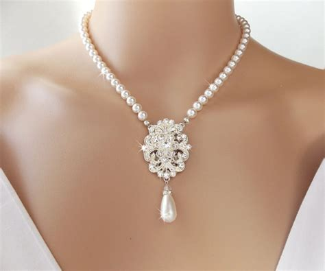 hochzeit kette bridal necklace pearl necklace wedding necklace