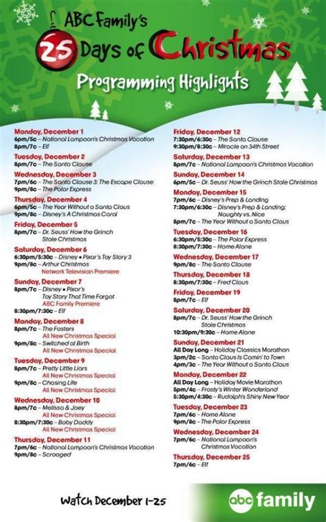 family christmas program abc family s 25 days of program schedule the rebel