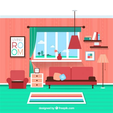 home interior vector colorful living room vector free
