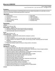 Lead Housekeeper Sle Resume lead housekeeper resume exle we care service inc marlboro maryland