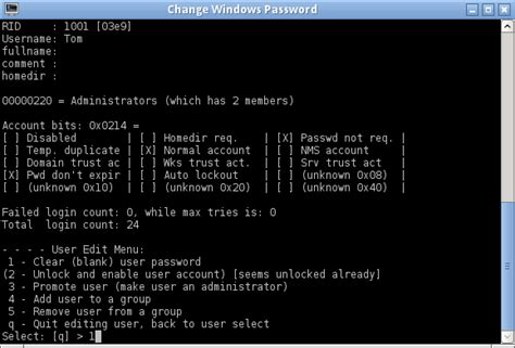 reset magic online password how to reset windows local password with parted magic chntpw