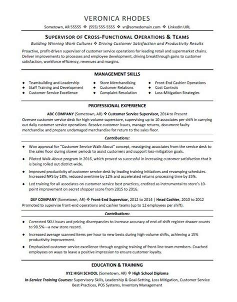Resume Templates For Supervisor Position by Resume Template For Supervisor Position Gallery
