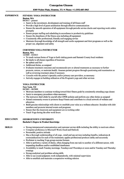 fresh resume template for yoga instructor best templates