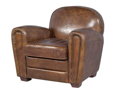 distressed leather recliner pair of distressed brown leather art deco club chairs at