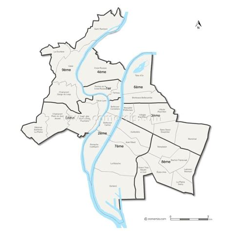 lyon arrondissement la carte carte de lyon