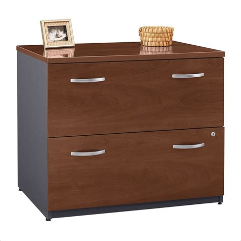 Lateral File Cabinet Wood Bush Bbf Series C 36w 2dwr Lateral File In Hansen Cherry Wc24454c